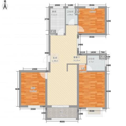 福佳新都市3室1厅2卫1厨122.00㎡户型图