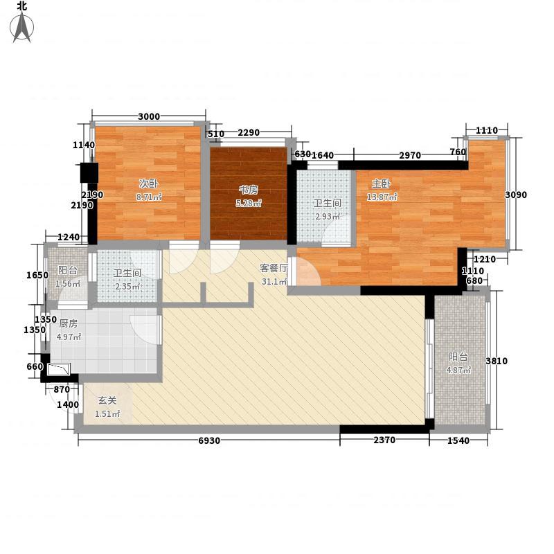 盛天公馆|88街区88.00㎡5#楼B座01户型2室2厅2卫1厨
