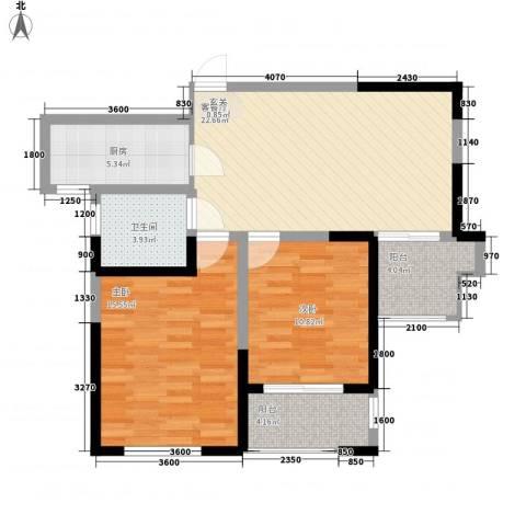 临商水岸明珠2室1厅1卫1厨96.00㎡户型图