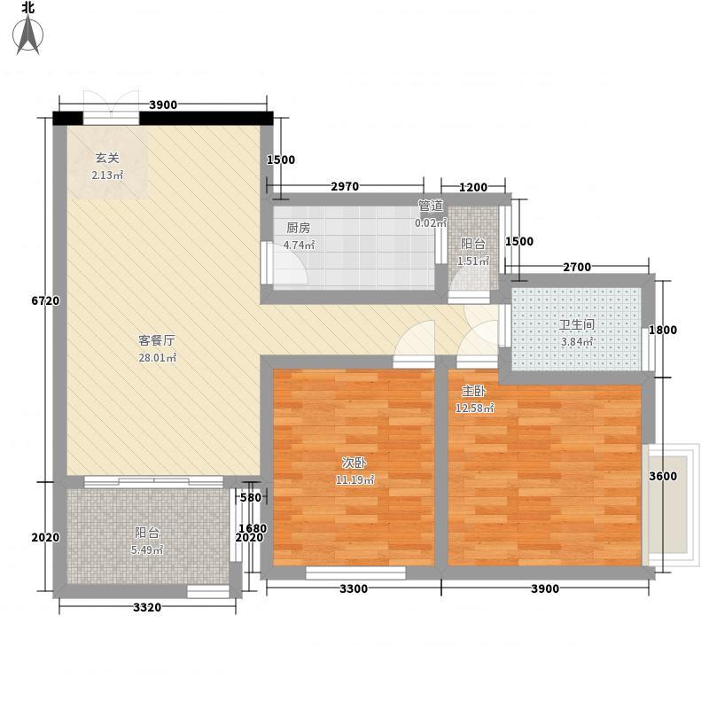 祥和名邸85.30㎡2号4号D户型2室2厅1卫
