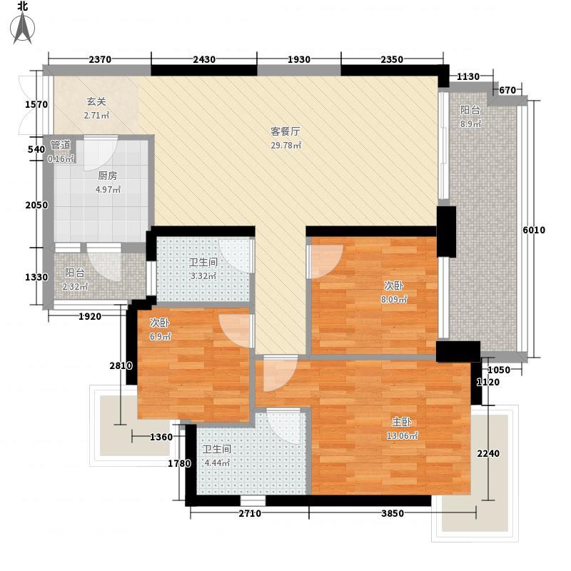 星际豪庭113.50㎡G座02单位户型3室2厅2卫1厨