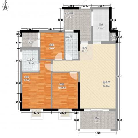 绿洲清庭3室1厅2卫1厨127.00㎡户型图