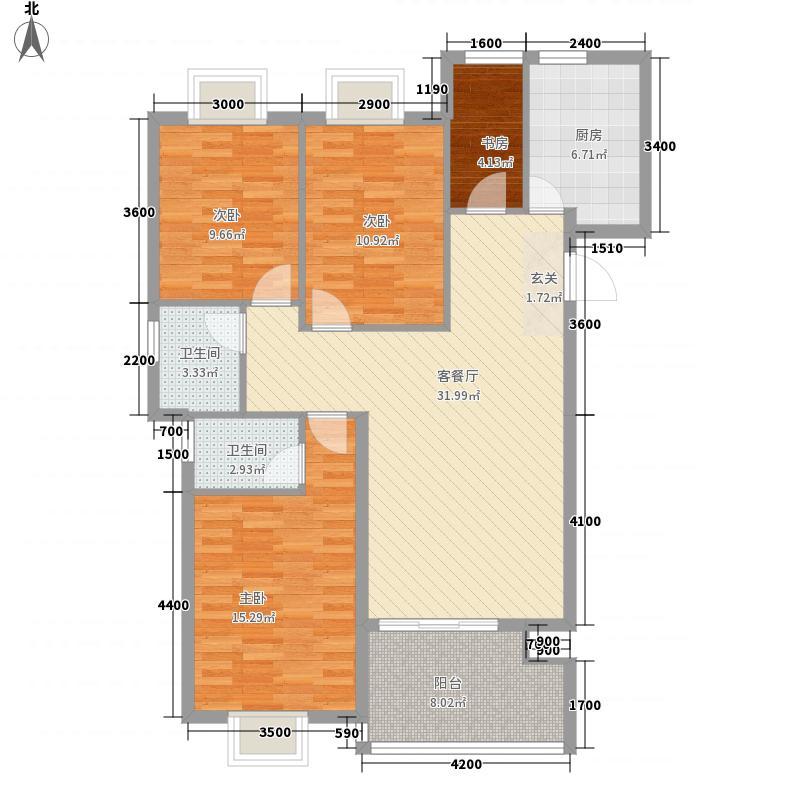 兆丰花苑116.84㎡4#楼B户型3室2厅2卫1厨