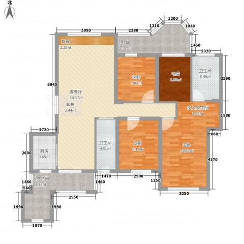 唐程御品3室1厅2卫1厨121.00㎡户型图