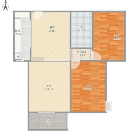 维多利亚广场2室2厅1卫1厨97.00㎡户型图
