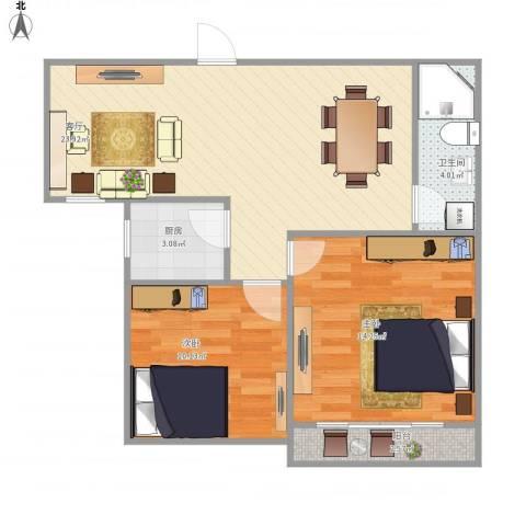 华阳新区2室1厅1卫1厨78.00㎡户型图