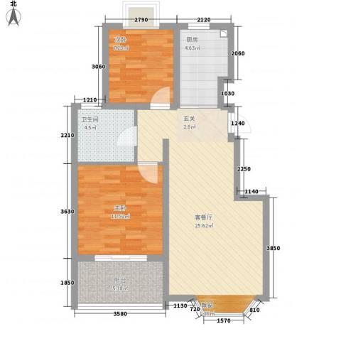 恒丰花园2室1厅1卫1厨85.00㎡户型图