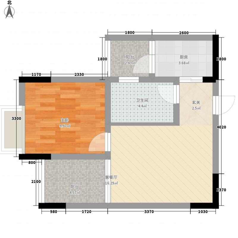江岸国际54.60㎡15#2号房户型1室1厅1卫1厨