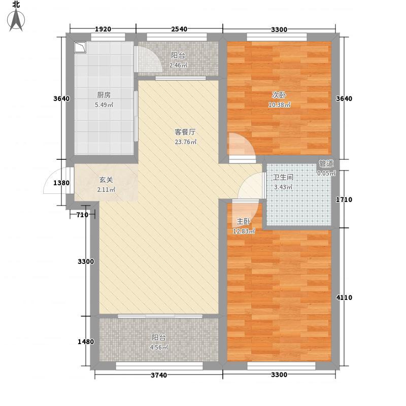 世茂・假日山水1.71㎡9、10#楼D户型2室2厅1卫1厨
