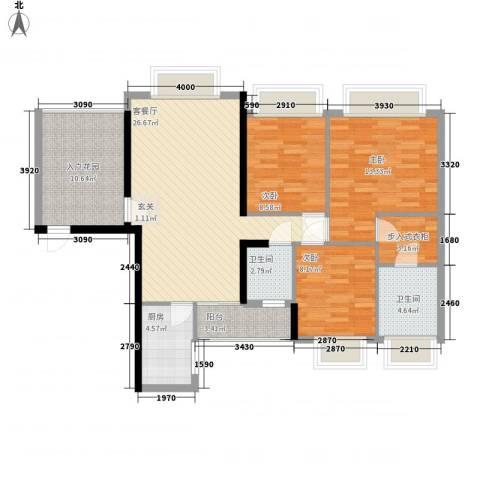 水木清华园3室1厅2卫1厨124.00㎡户型图