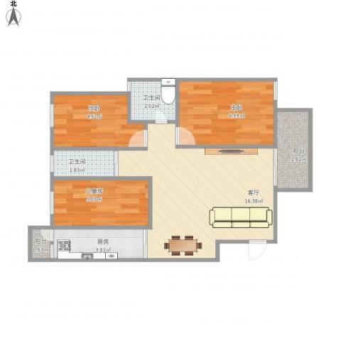 丰泽湖山庄3室1厅2卫1厨61.00㎡户型图