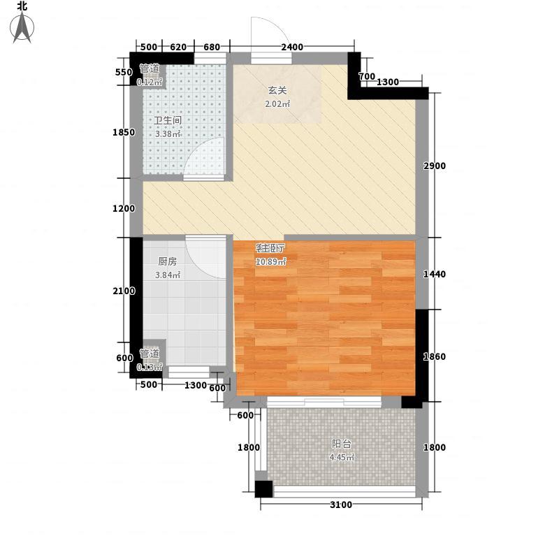 国贸天琴湾47.50㎡一期高层19、20号楼标准层A户型1室1厅1卫1厨
