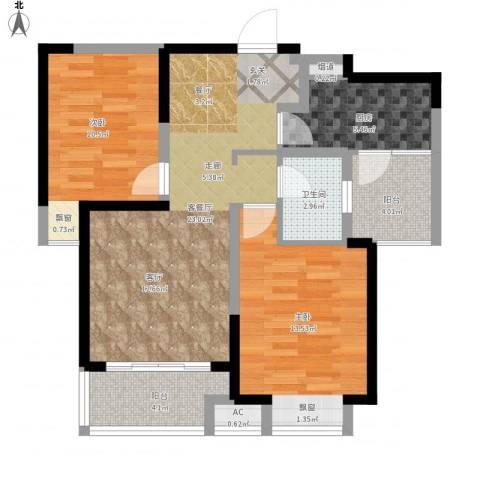 可逸兰亭2室1厅1卫1厨94.00㎡户型图