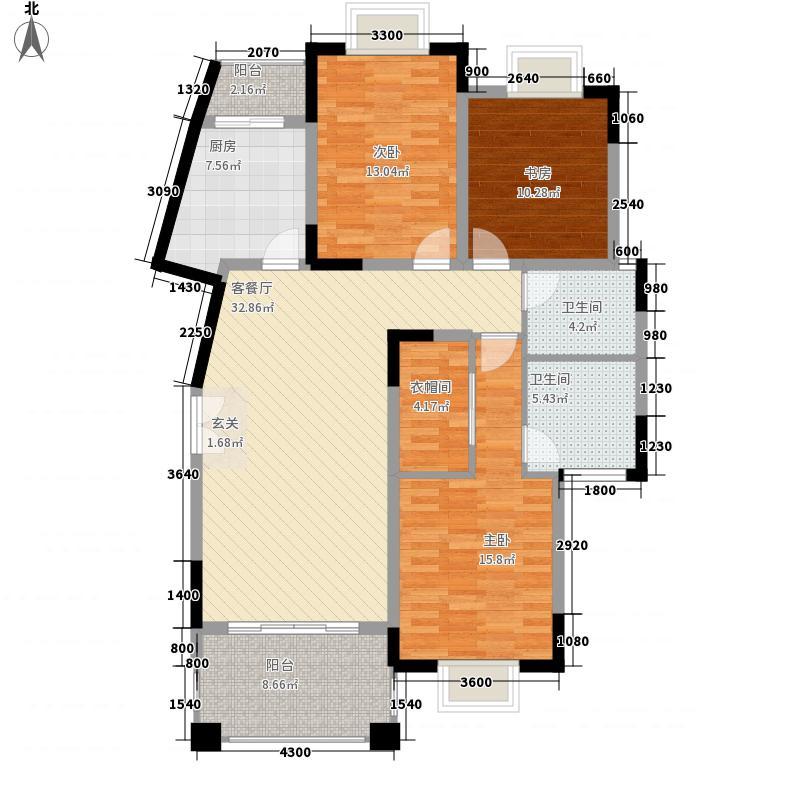班芙小镇132.40㎡D-1户型3室2厅2卫1厨