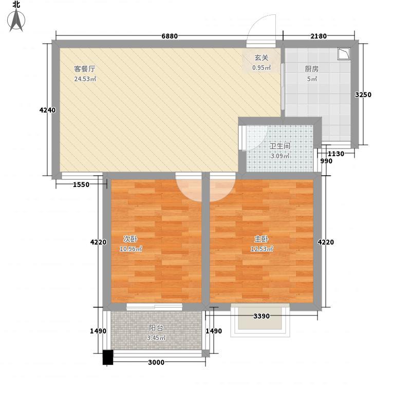 宝鼎花园85.60㎡高层住宅C2户型2室1厅1卫1厨