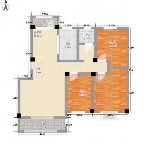 天籁华都3室1厅1卫1厨116.00㎡户型图