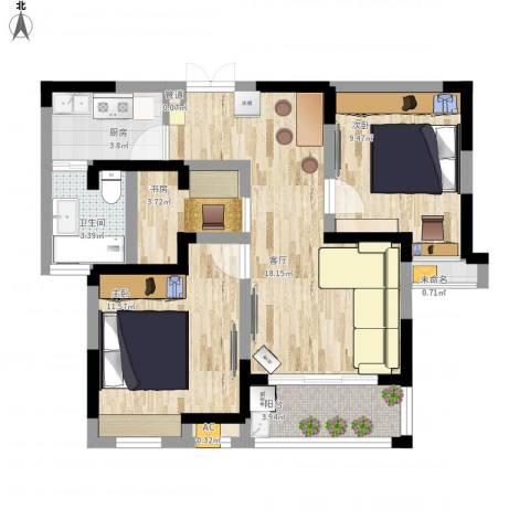 步阳御江金都3室1厅1卫1厨83.00㎡户型图