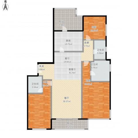 嘉天汇3室1厅3卫1厨255.00㎡户型图