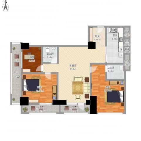 苏州街33号公寓3室1厅6卫1厨157.00㎡户型图