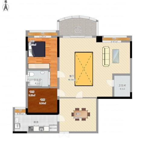 洲际半岛新城2室2厅2卫1厨160.00㎡户型图