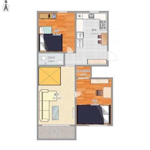 咸阳北里2室1厅1卫1厨76.00㎡户型图