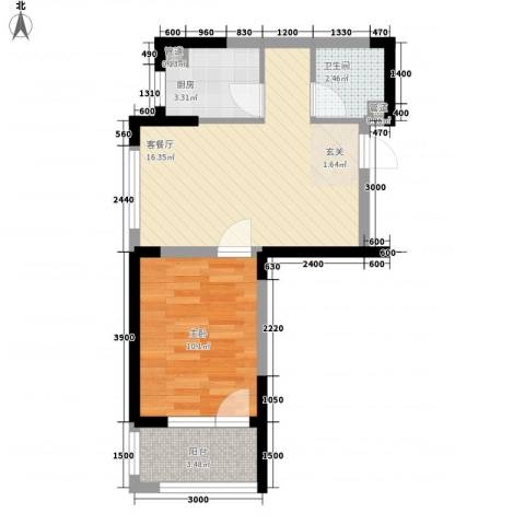 藏珑大连海1室1厅1卫1厨53.00㎡户型图