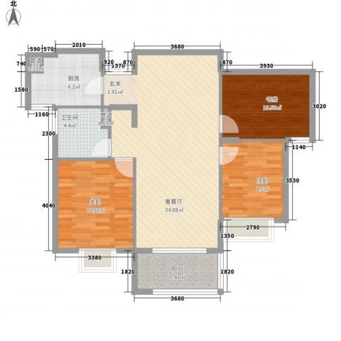 嘉里云荷廷3室1厅1卫1厨115.00㎡户型图