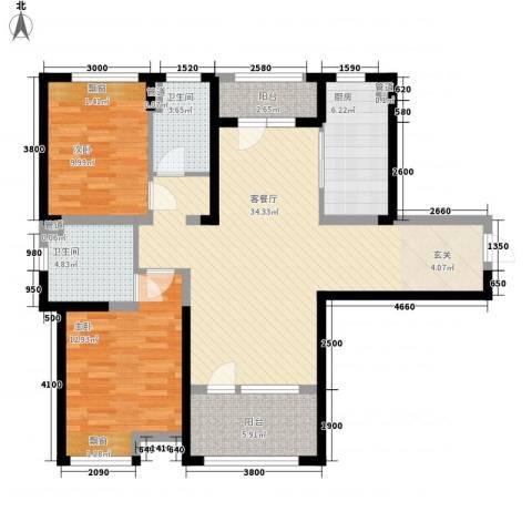 藏珑大连海2室1厅2卫1厨117.00㎡户型图