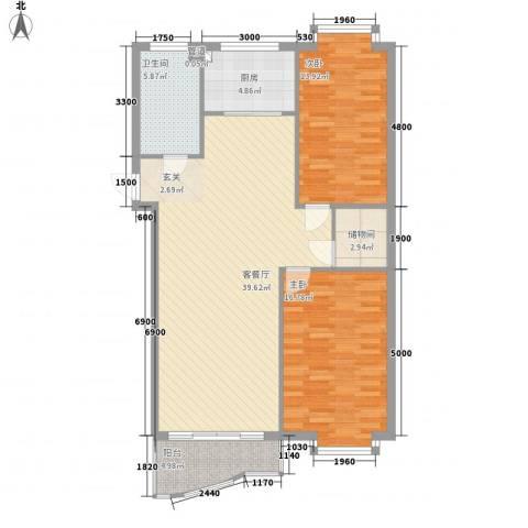 东尚国际寓所2室1厅1卫1厨89.34㎡户型图