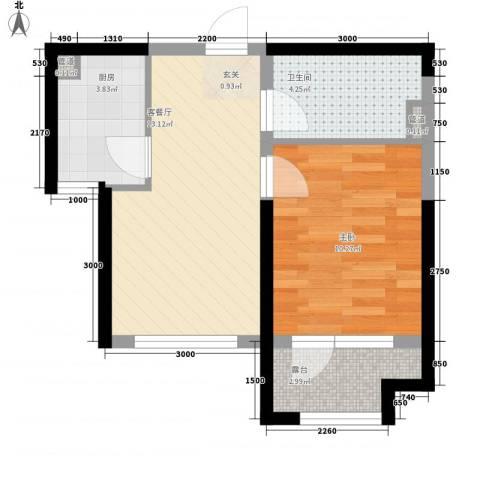 藏珑大连海1室1厅1卫1厨51.00㎡户型图