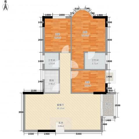 金桃园大厦3室1厅2卫1厨90.58㎡户型图