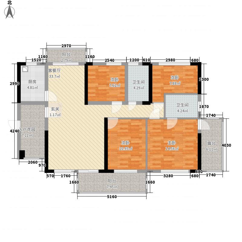 金港湾127.00㎡明悦居A户型4室2厅2卫1厨