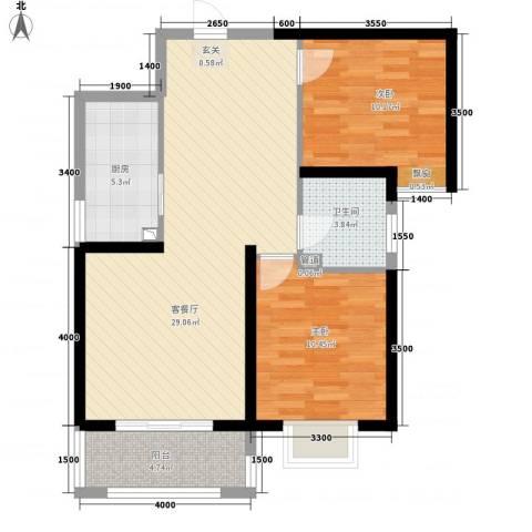 曲江圣卡纳2室1厅1卫1厨63.63㎡户型图