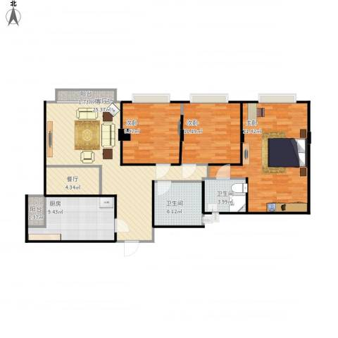 鹿茵豪苑3室1厅2卫1厨128.00㎡户型图