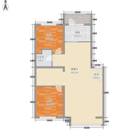 秀水花城2室1厅1卫1厨96.36㎡户型图