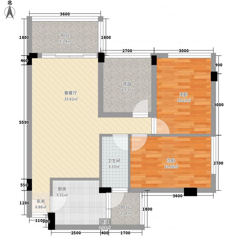 乾城美景7.70㎡2栋、3栋02、0户型2室2厅1卫1厨
