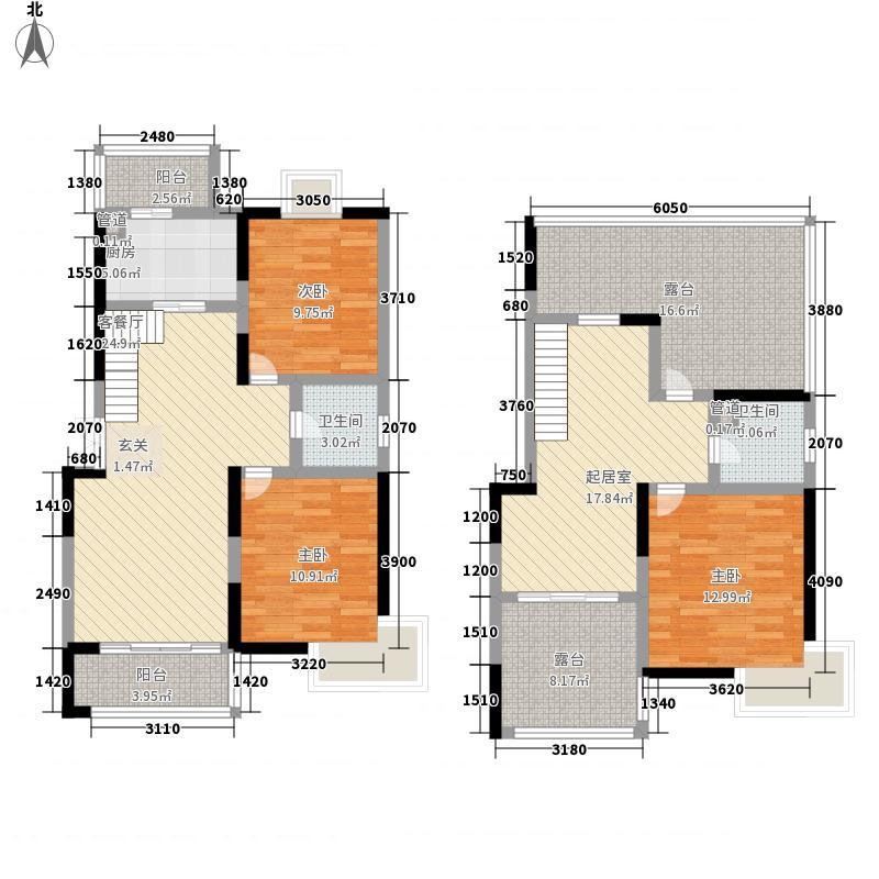 天辰花园19号楼17层户型3室3厅2卫1厨