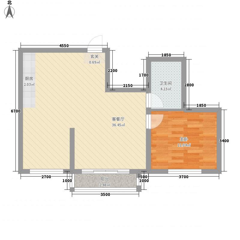 香槟蓝湾78.00㎡A户型2室2厅1卫