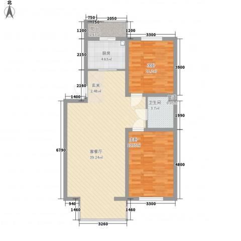 昊景家园2室1厅1卫1厨75.71㎡户型图