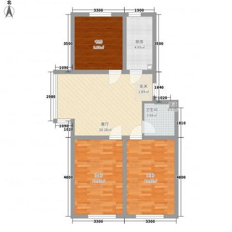 昊景家园3室1厅1卫1厨67.18㎡户型图