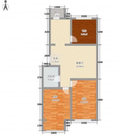 秀水花城3室1厅1卫0厨75.42㎡户型图