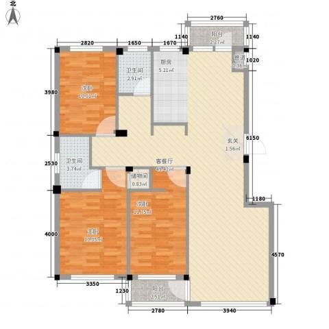 翰林苑3室1厅2卫0厨136.00㎡户型图