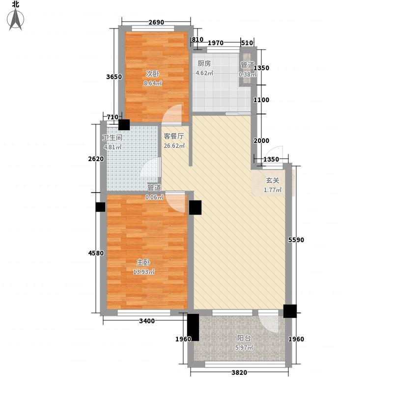 甜橙派83.80㎡A8号楼E户型2室2厅1卫1厨