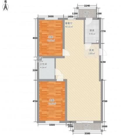 昊景家园2室1厅1卫1厨80.94㎡户型图