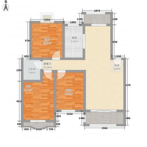 天工颐园3室1厅1卫1厨111.00㎡户型图