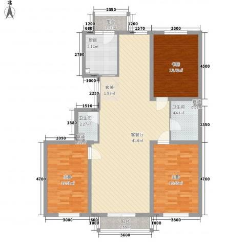 昊景家园3室1厅2卫1厨138.00㎡户型图