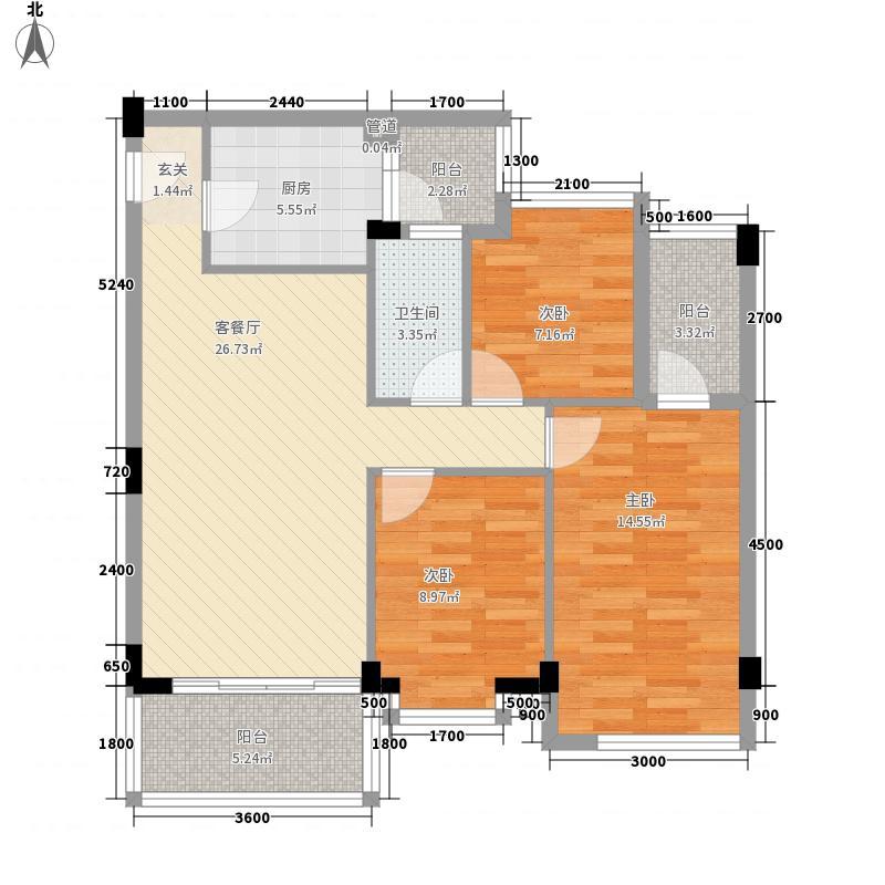 乾城美景87.80㎡2栋01、0户型3室2厅1卫1厨