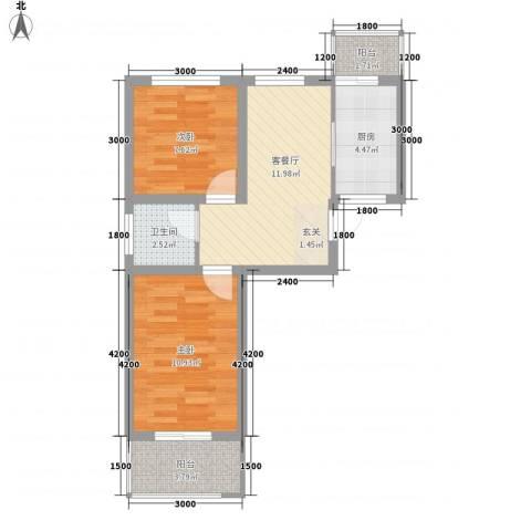 秀水花城2室1厅1卫1厨43.03㎡户型图