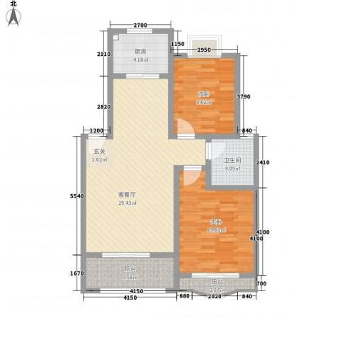天工颐园2室1厅1卫1厨87.00㎡户型图