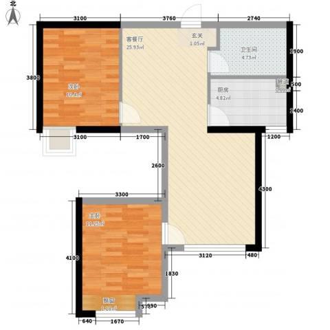 藏珑大连海2室1厅1卫1厨81.00㎡户型图